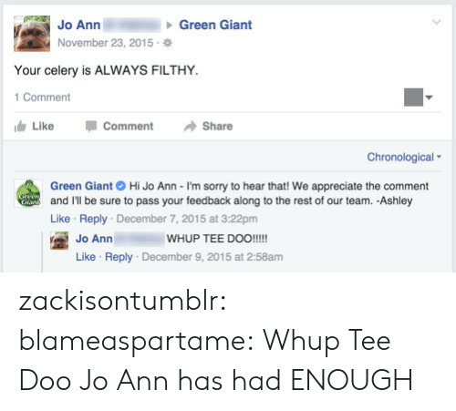 tee: Jo Ann  November 23, 2015  Green Giant  Your celery is ALWAYS FILTHY  1 Comment  Like -Comment →Share  Chronological  Green Giant Hi Jo Ann - I'm sorry to hear that! We appreciate the comment  and I'll be sure to pass your feedback along to the rest of our team. -Ashley  Like Reply December 7, 2015 at 3:22pm  WHUP TEE DOO!!!!  Jo Ann  Like Reply December 9, 2015 at 2:58am zackisontumblr:  blameaspartame:  Whup Tee Doo  Jo Ann has had ENOUGH