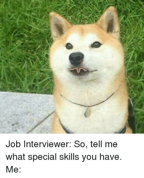 Job Interview, Memes, and Jobs: Job Interviewer: So, tell me what special skills you have. Me: