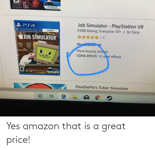 sony playstation: Job Simulator - PlayStation VR  ESRB Rating: Everyone 10+ | by Sony  PLAYSTATION VR  GAME  JOB SİMULATOR  PlayStation VR  More buying choices  CDN$ 499.95 (2 used offers)  Obteny  PewDiePie's Tuber Simulator Yes amazon that is a great price!