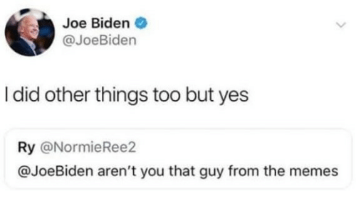 biden: Joe Biden  @JoeBiden  I did other things too but yes  Ry @NormieRee2  @JoeBiden aren't you that guy from the memes