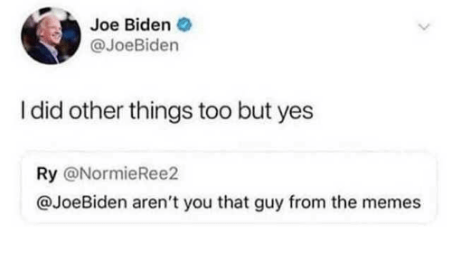 Arent You: Joe Biden  @JoeBiden  I did other things too but yes  Ry @NormieRee2  @JoeBiden aren't you that guy from the memes