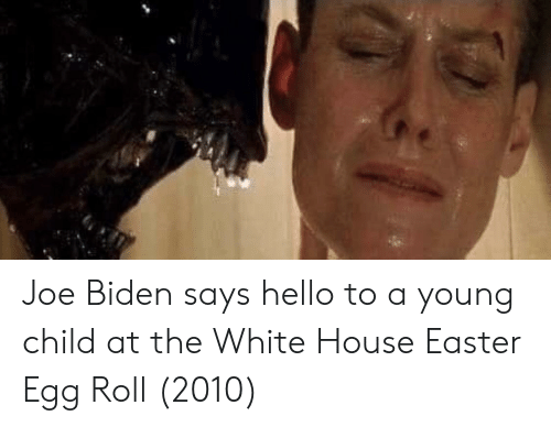 biden: Joe Biden says hello to a young child at the White House Easter Egg Roll (2010)