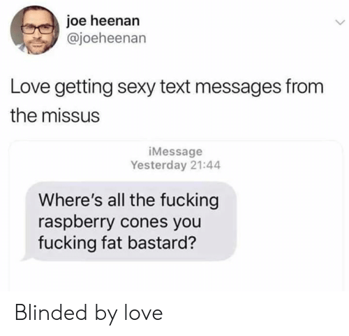 cones: joe heenan  @joeheenan  Love getting sexy text messages from  the missus  iMessage  Yesterday 21:44  Where's all the fucking  raspberry cones you  fucking fat bastard? Blinded by love
