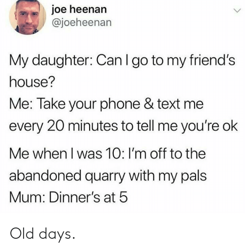 pals: joe heenan  @joeheenan  My daughter: Can I go to my friend's  house?  Me: Take your phone & text me  every 20 minutes to tell me you're ok  Me when I was 10: I'm off to the  abandoned quarry with my pals  Mum: Dinner's at 5 Old days.