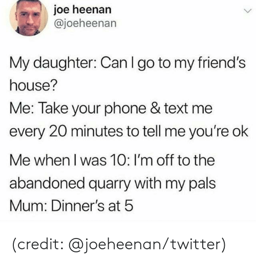 pals: joe heenan  @joeheenan  My daughter: Can I go to my friend's  house?  Me: Take your phone & text me  every 20 minutes to tell me you're ok  Me when I was 10: I'm off to the  abandoned quarry with my pals  Mum: Dinner's at 5 (credit: @joeheenan/twitter)