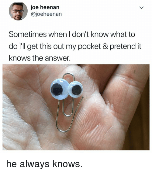 Relatable, Answer, and Joe: joe heenan  @joeheenan  Sometimes when I don't know what to  do I'll get this out my pocket & pretend it  knows the answer. he always knows.