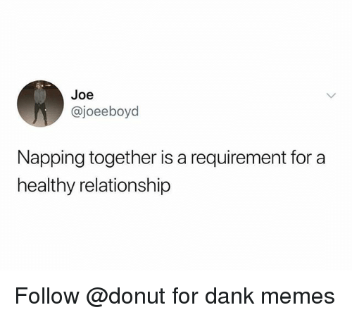 Dank, Memes, and Dank Memes: Joe  @joeeboyd  Napping together is a requirement for a  healthy relationship Follow @donut for dank memes