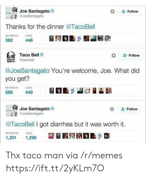 Diarrhea: Joe Santagato  BJoeSantagato  Follow  Thanks for the dinner @TacoBell  RETWEETS LKES  562  448  Taco Bell  Follow  tacobell  @JoeSantagato You're welcome, Joe. What did  you get?  RETWEETS  589  LIKER  449  Joe Santagato  auoeSantagato  Follow  @TacoBell I got diarrhea but it was worth it.  RETWEETS  LIKES  1,201  1,296 Thx taco man via /r/memes https://ift.tt/2yKLm7O