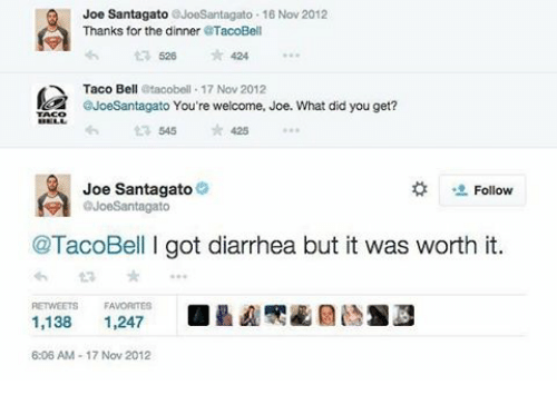Funny, Taco Bell, and Diarrhea: Joe Santagato eJoeSantagato 16 Nov 2012  Thanks for the dinner  TacoBell  ta 526  424  Taco Bell  Otacobell 17 Nov 2012  eJoeSantagato You're welcome, Joe. What did you get?  t 545 425  Joe Santagato  Follow  @TacoBell got diarrhea but it was worth it.  1,138  1,247  6:06 AM-17 Nov 2012