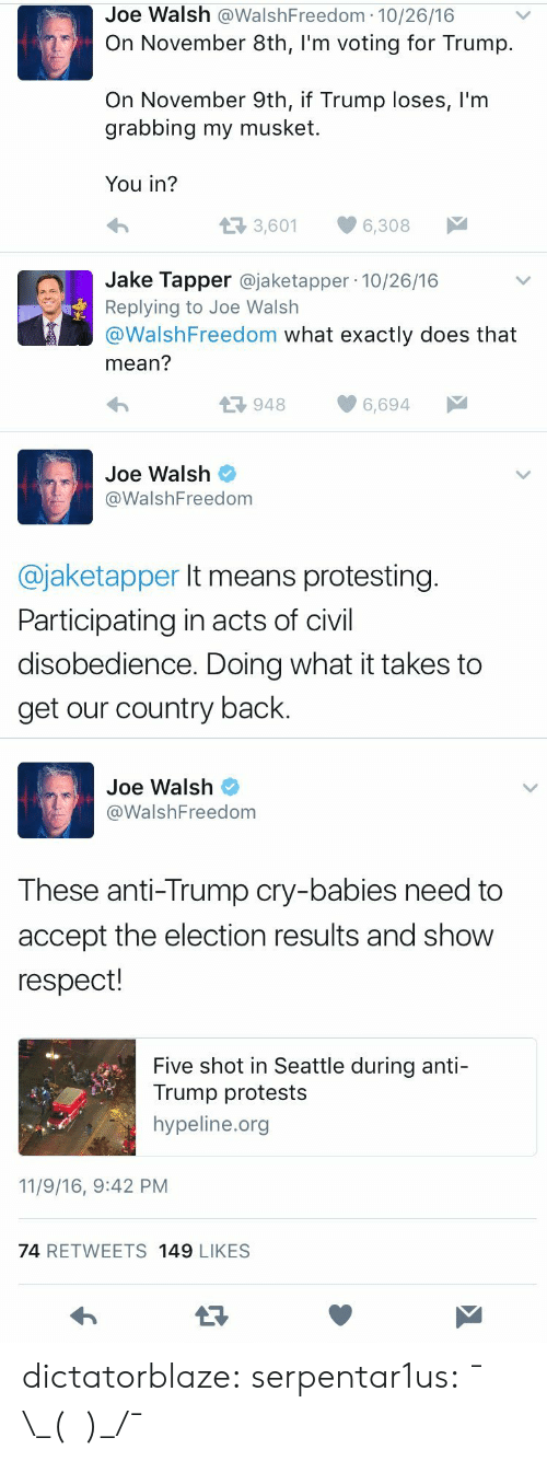 Jake Tapper: Joe Walsh @WalshFreedom 10/26/16  On November 8th, I'm voting for Trump.  On November 9th, if Trump loses, l'm  grabbing my musket  You in?  t3 3,601  6,308  Jake Tapper @jaketapper 10/26/16  Replying to Joe Walsh  @WalshFreedom what exactly does that  mean?  9486,694  Joe Walsh  @WalshFreedom  @jaketapper It means protesting  Participating in acts of civil  disobedience. Doing what it takes to  get our country back.   Joe Walsh  WalshFreedom  These anti-Trump cry-babies need to  accept the election results and show  respect!  Five shot in Seattle during anti-  Trump protests  hypeline.org  11/9/16, 9:42 PM  74 RETWEETS 149 LIKESS dictatorblaze:  serpentar1us:  ¯\_(ツ)_/¯