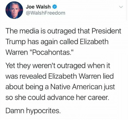 "Pocahontas: Joe Walsh  @WalshFreedom  The media is outraged that President  Trump has again called Elizabeth  Warren ""Pocahontas.""  Yet they weren't outraged when it  was revealed Elizabeth Warren lied  about being a Native American just  so she could advance her career.  Damn hypocrites."