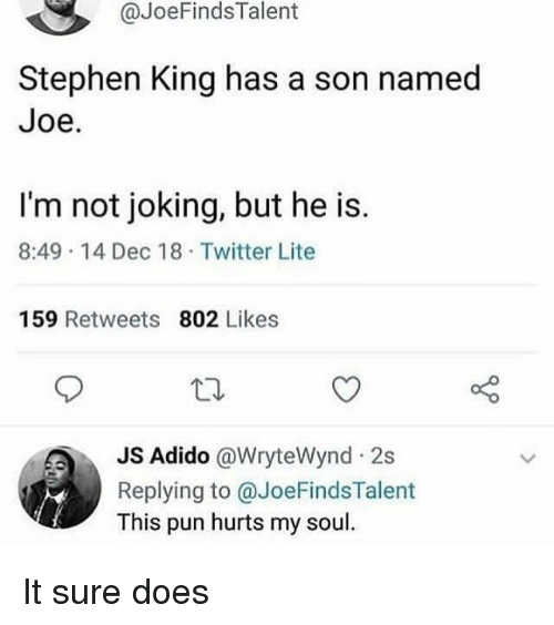 Stephen King: @JoeFindsTalent  Stephen King has a son named  Joe.  I'm not joking, but he is.  8:49 14 Dec 18 Twitter Lite  159 Retweets 802 Likes  Adido @WryteWynd 2s  Replying to @JoeFindsTalent  This pun hurts my soul It sure does