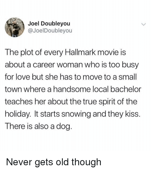 Never Gets Old: Joel Doubleyou  @JoelDoubleyou  The plot of every Hallmark movie is  about a career woman who is too busy  for love but she has to move to a small  town where a handsome local bachelor  teaches her about the true spirit of the  holiday. It starts snowing and they kiss.  There is also a dog. Never gets old though