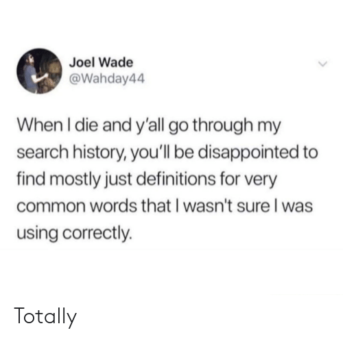 Wade: Joel Wade  @Wahday44  When I die and y'all go through my  search history, you'll be disappointed to  find mostly just definitions for very  common words that I wasn't sure l was  using correctly. Totally