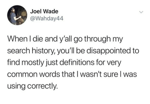 Wade: Joel Wade  @Wahday44  When I die and y'all go through my  search history, you'll be disappointed to  find mostly just definitions for very  common words that I wasn't sure I was  using correctly.