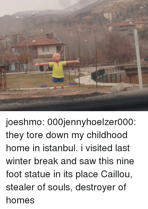 Istanbul: joeshmo:  000jennyhoelzer000:  they tore down my childhood home in istanbul. i visited last winter break and saw this nine foot statue in its place  Caillou, stealer of souls, destroyer of homes