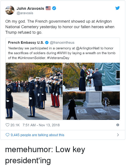 embassy: John Aravosis  @aravosis  Oh my god. The French government showed up at Arlington  National Cemetery yesterday to honor our fallen heroes when  Trump refused to go.  French Embassy u.s. @franceintheus  Yesterday we participated in a ceremony at @ArlingtonNatl to honor  the sacrifices of soldiers during #WWI by laying a wreath on the tomb  of the #UnknownSoldier. #VeteransDay  20.1K 7:51 AM-Nov 13, 2018  6  9,445 people are talking about this memehumor:  Low key president'ing