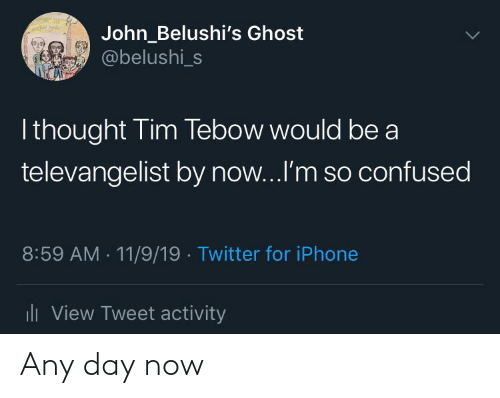 Tim Tebow: John_Belushi's Ghost  @belushi_s  I thought Tim Tebow would be a  televangelist by now...I'm so confused  8:59 AM - 11/9/19 · Twitter for iPhone  ili View Tweet activity Any day now
