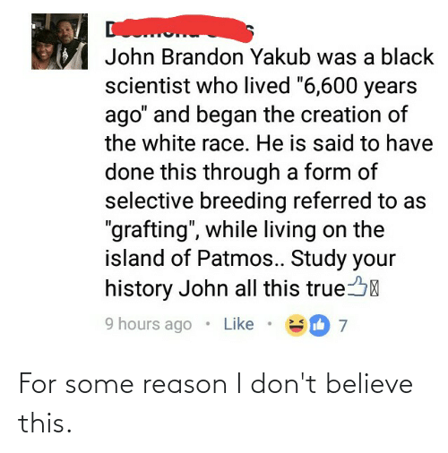 """Black Scientist: John Brandon Yakub was a black  scientist who lived """"6,600 years  ago"""" and began the creation of  the white race. He is said to have  done this through a form of  selective breeding referred to as  """"grafting"""", while living on the  island of Patmos.. Study your  history John all this true  9 hours ago  Like For some reason I don't believe this."""