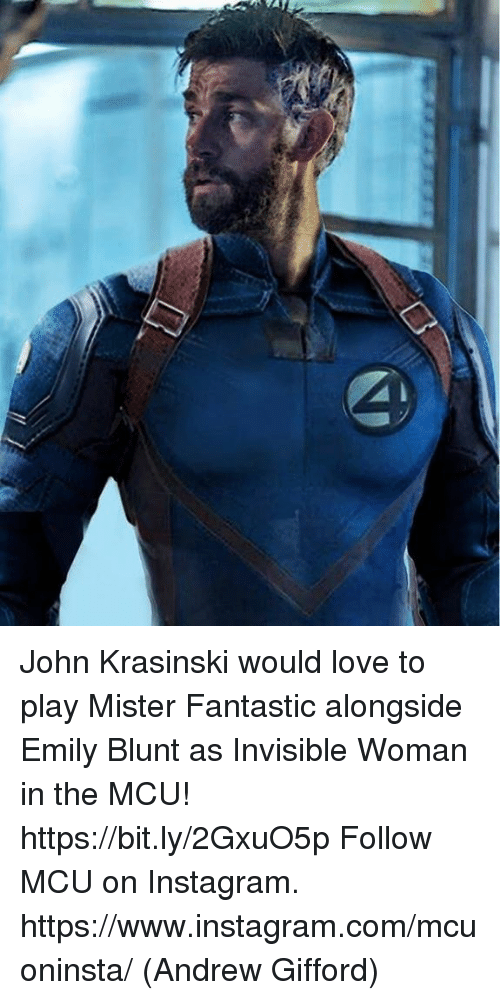 Emily Blunt, Instagram, and John Krasinski: John Krasinski would love to play Mister Fantastic alongside Emily Blunt as Invisible Woman in the MCU! https://bit.ly/2GxuO5p  Follow MCU on Instagram.  https://www.instagram.com/mcuoninsta/  (Andrew Gifford)