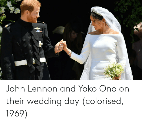 Yoko Ono: John Lennon and Yoko Ono on their wedding day (colorised, 1969)