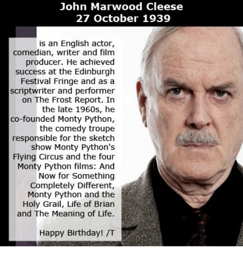 john marwood cleese 27 october 1939 is an english actor 6163968 john marwood cleese 27 october 1939 is an english actor comedian