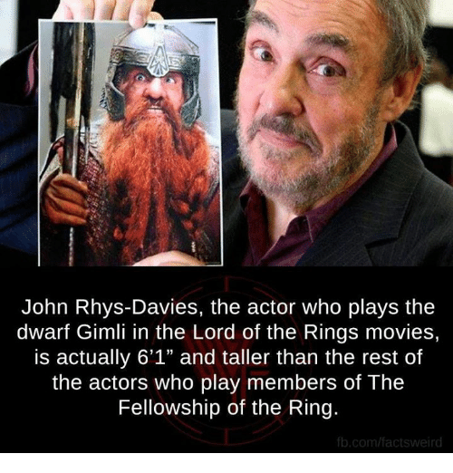 """lord of the ring: John Rhys-Davies, the actor who plays the  dwarf Gimli in the Lord of the Rings movies,  is actually 6'1"""" and taller than the rest of  the actors who play members of The  Fellowship of the Ring.  fb.com/factswei"""