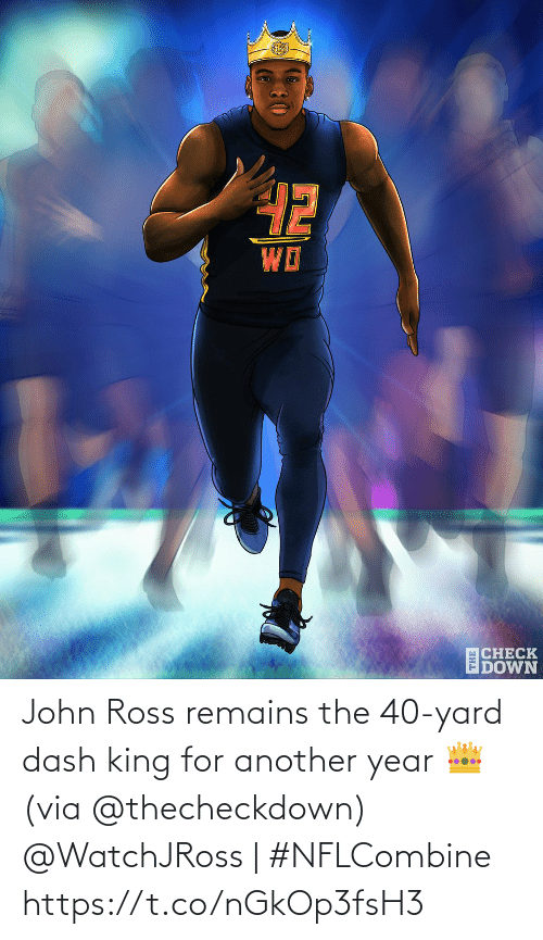 dash: John Ross remains the 40-yard dash king for another year 👑 (via @thecheckdown)  @WatchJRoss | #NFLCombine https://t.co/nGkOp3fsH3
