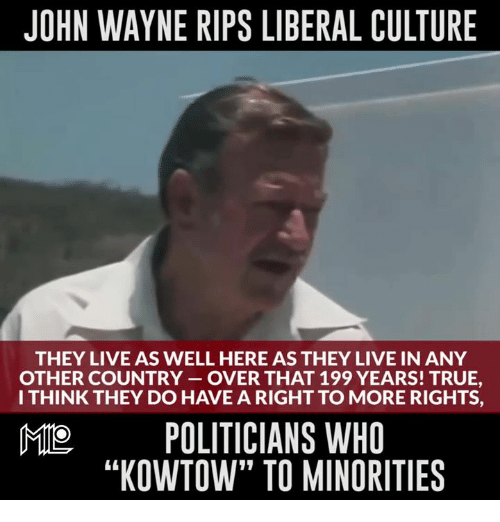 """Memes, True, and John Wayne: JOHN WAYNE RIPS LIBERAL CULTURE  THEY LIVE AS WELL HERE ASTHEY LIVE IN ANY  OTHER COUNTRY OVER THAT 199 YEARS! TRUE,  I THINK THEY DO HAVE A RIGHT TO MORE RIGHTS,  MO POLITICIANS WHO  """"KOWTOW"""" TO MINORITIES"""