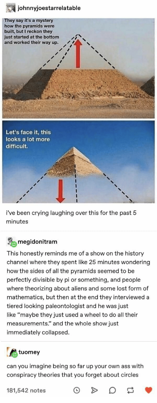 "history channel: johnnyjoestarrelatable  They say it's a mystery  how the pyramids were  built, but I reckon they  just started at the bottom  and worked their way up.  Let's face it, this  looks a lot more  difficult  i've been crying laughing over this for the past 5  minutes  megidonitram  This honestly reminds me of a show on the history  channel where they spent like 25 minutes wondering  how the sides of all the pyramids seemed to be  perfectly divisible by pi or something, and people  where theorizing about aliens and some lost form of  mathematics, but then at the end they interviewed a  tiered looking paleontologist and he was just  like ""maybe they just used a wheel to do all their  measurements."" and the whole show just  immediately collapsed  tuomey  can you imagine being so far up your own ass with  conspiracy theories that you forget about circles  181,542 notes"