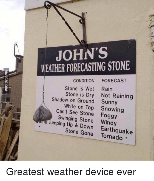 Ups, Earthquake, and Forecast: JOHN'S  WEATHER FORECASTING STONE  CONDITION  FORECAST  Stone is Wet Rain  Stone is Dry Not Raining  Shadow on Ground Sunny  White on Top Snowing  Can't Stone Foggy  e Swinging Stone lumping Up Down Earthquake  Stone Gone Greatest weather device ever