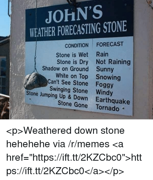 "Memes, Earthquake, and Forecast: JOHN'S  WEATHER FORECASTING STONE  CONDITION FORECAST  Stone is Wet Rain  Stone is Dry Not Raining  Shadow on Ground  Can't See Stone  Stone Jumping Up & Down  Sunny  Snowing  Foggy  White on Top  Swinging Stone Windy  Earthquake  Stone Gone Tornado <p>Weathered down stone hehehehe via /r/memes <a href=""https://ift.tt/2KZCbc0"">https://ift.tt/2KZCbc0</a></p>"