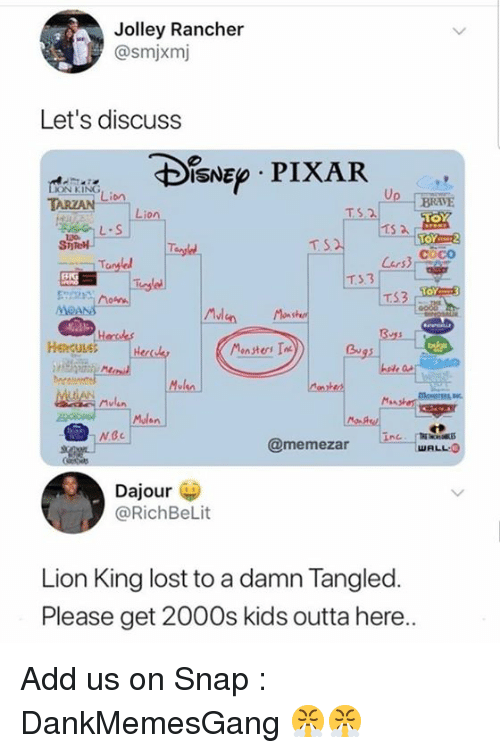 Mulan: Jolley Rancher  @smjxmj  Let's discuss  ISNE PIXAR  ON KING  TARZAN  : Li。  BRAVE  TS.2  L.S  TOY2  coco  T3.3  TS3  MvI  Henculet  Bu  Mulan  卡  @memezar  WALL O  Dajour  @RichBeLit  Lion King lost to a damn Tangled.  Please get 2000s kids outta here Add us on Snap :  DankMemesGang 😤😤
