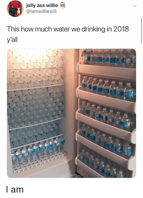 Ass, Drinking, and Memes: jolly ass willie  @iamwilliewill  This how much water we drinking in 2018  yall I am