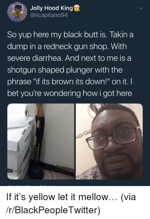 "Diarrhea: Jolly Hood King  @llcapitano94  So yup here my black butt is. Takin a  dump in a redneck gun shop. With  severe diarrhea. And next to me is a  shotgun shaped plunger with the  phrase ""if its brown its down!"" on it. I  bet you're wondering how i got here <p>If it&rsquo;s yellow let it mellow&hellip; (via /r/BlackPeopleTwitter)</p>"