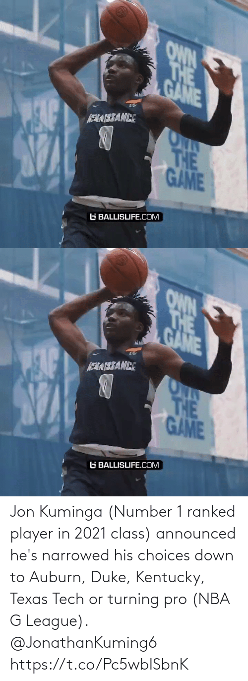 Kentucky: Jon Kuminga (Number 1 ranked player in 2021 class) announced he's narrowed his choices down to Auburn, Duke, Kentucky, Texas Tech or turning pro (NBA G League). @JonathanKuming6 https://t.co/Pc5wbISbnK