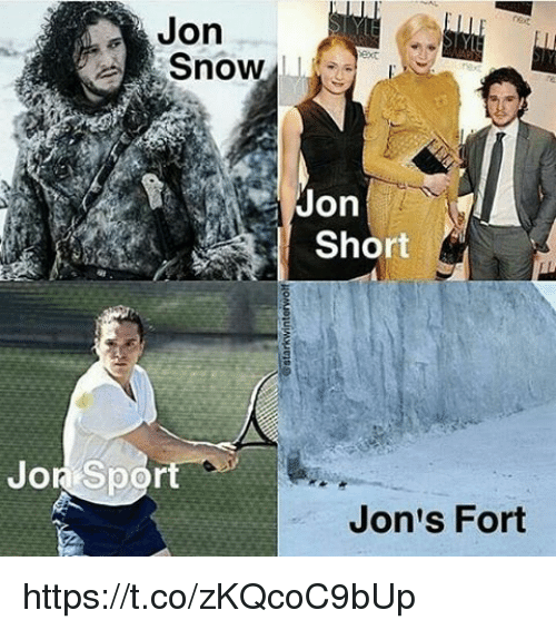 Jon Snow, Snow, and Sport: Jon  Snow  Jon  Short  Jor Sport  Jon's Fort https://t.co/zKQcoC9bUp