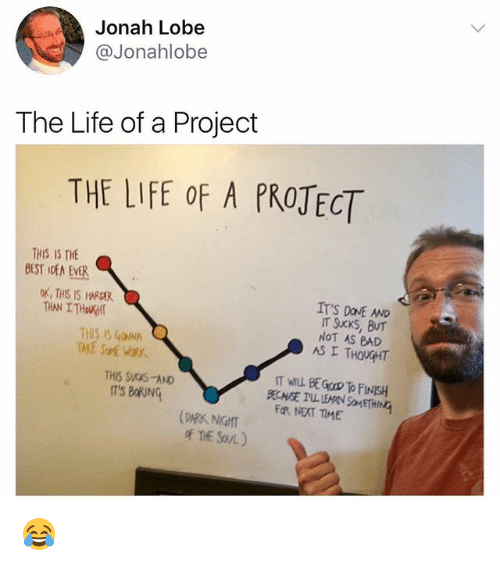 Bad, Life, and Memes: Jonah Lobe  @Jonahlobe  The Life of a Project  THE LIFE oF A PROTECT  THIS IS THE  IT'S DONE AND  oX, THIS IS HARDER  THAN ITHOUGHT  NOT AS BAD  AS I THOUGHT  THIS IS GOIN  IT WILL BE GOOD To FINSH  THIS SUCKS-AND  ITS BoRING  FOR NEAT TIME  DARK NIGHIT  oF THE SOUL) 😂