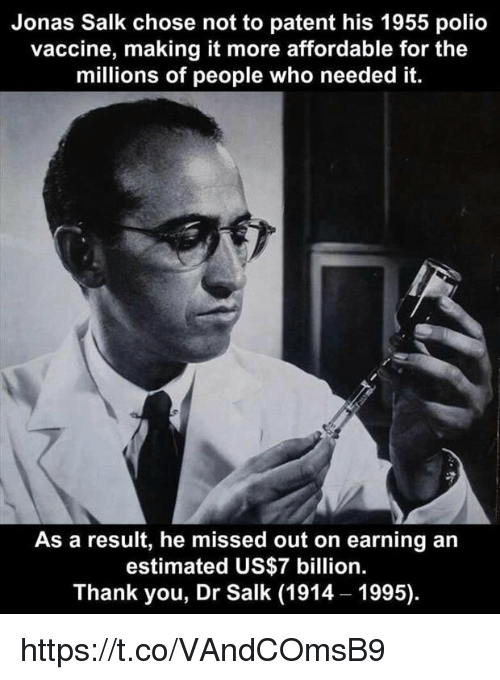 dr jonas salk polio vaccine In january, 1955, albert b sabin inoculated 30 volunteers at ohio's chillicothe reformatory, with a weakened strain of live polio virus just three months later, jonas e salk announced that he had successfully tested his dead polio virus vaccine on 440,000 elementary school students, and the.