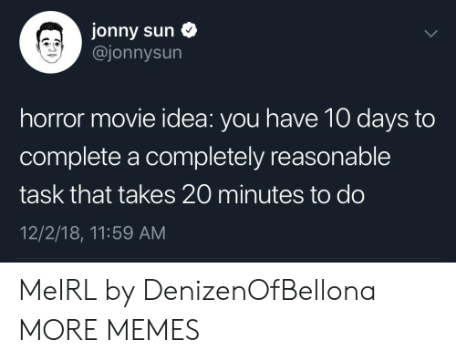 Jonny: Jonny sun  @jonnysun  horror movie idea: you have 10 days to  complete a completely reasonable  task that takes 20 minutes to do  12/2/18, 11:59 AM MeIRL by DenizenOfBellona MORE MEMES