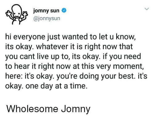 Hi Everyone: @jonnysun  hi everyone just wanted to let u know,  its okay. whatever it is right now that  you cant live up to, its okay. if you need  to hear it right now at this very moment,  here: it's okay. you're doing your best. it's  okay. one day at a time. <p>Wholesome Jomny</p>