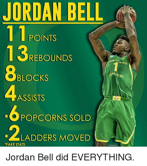 Memes, 🤖, and Belle: JORDAN BELL  11 POINTS  REBOUNDS  GHY  BLOCKS  ASSISTS  OPCORNS SOLD  2 LLADDERS MOVED  *FAKE STATS Jordan Bell did EVERYTHING.