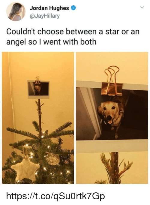 Memes, Angel, and Jordan: Jordan Hughes  @JayHillary  Couldn't choose between a star or an  angel so l went with both https://t.co/qSu0rtk7Gp