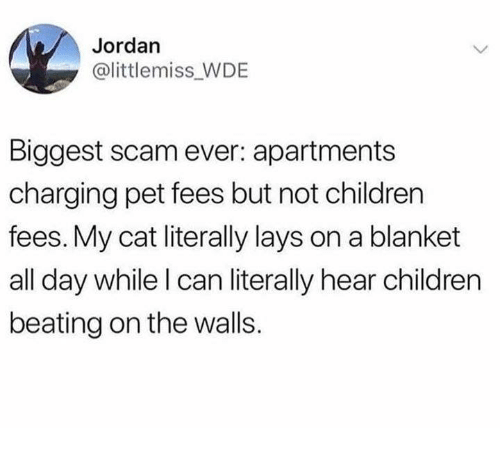 Lay's: Jordan  @littlemiss WDE  Biggest scam ever: apartments  charging pet fees but not children  fees. My cat literally lays on a blanket  all day while l can literally hear children  beating on the walls.