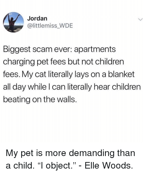 """Children, Lay's, and Jordan: Jordan  @littlemiss_WDE  Biggest scam ever: apartments  charging pet fees but not children  fees. My cat literally lays on a blanket  all day while I can literally hear children  beating on the walls. My pet is more demanding than a child. """"I object."""" - Elle Woods."""