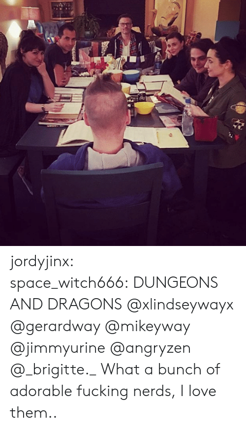 dungeons: jordyjinx:  space_witch666: DUNGEONS AND DRAGONS @xlindseywayx @gerardway @mikeyway @jimmyurine @angryzen @_brigitte._    What a bunch of adorable fucking nerds, I love them..