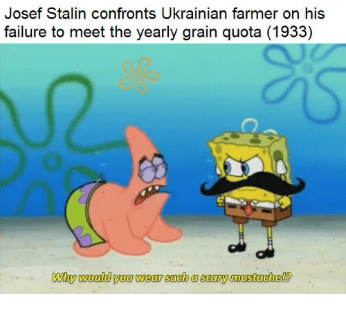 Stalinator: Josef Stalin confronts Ukrainian farmer on his  failure to meet the vearly grain quota (1933)  Why  would you wear such a scary mustachel?