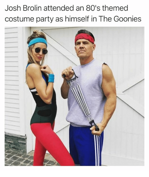 goonies: Josh Brolin attended an 80's themed  costume party as himself in The Goonies