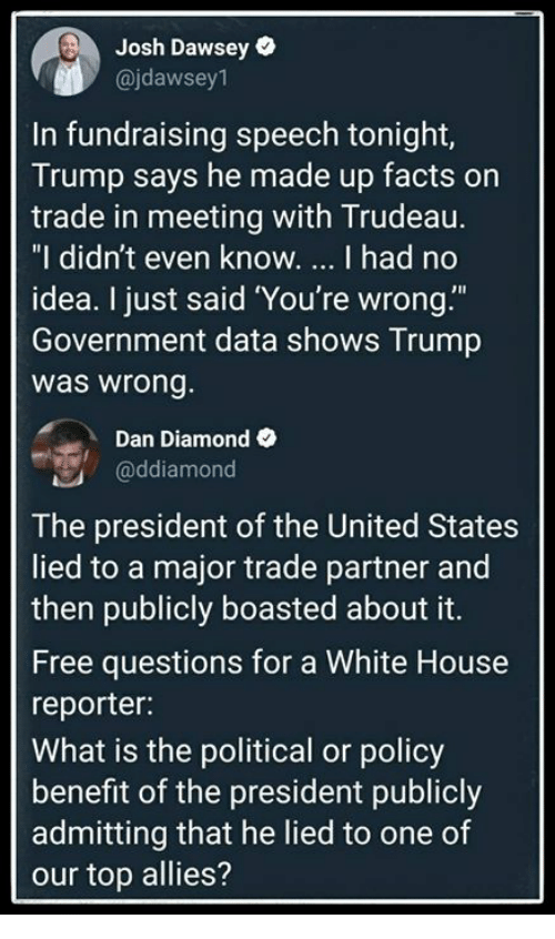 "Facts, White House, and Diamond: Josh Dawsey  @jdawsey1  In fundraising speech tonight,  Trump says he made up facts on  trade in meeting with Trudeau.  ""I didn't even know. I had no  idea. I just said 'You're wrong.""""  Government data shows Trump  was wrong  Dan Diamond  @ddiamond  The president of the United States  lied to a major trade partner and  then publicly boasted about it  Free questions for a White House  reporter:  What is the political or policy  benefit of the president publicly  admitting that he lied to one of  our top allies?"