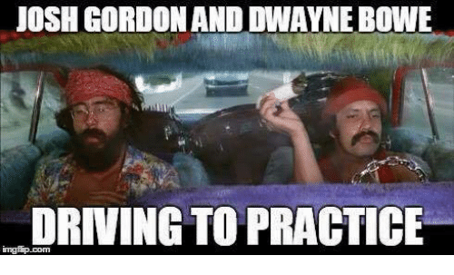 Driving, Nfl, and Josh Gordon: JOSH GORDON AND DWAYNE BOWE  DRIVING TO PRACTICE